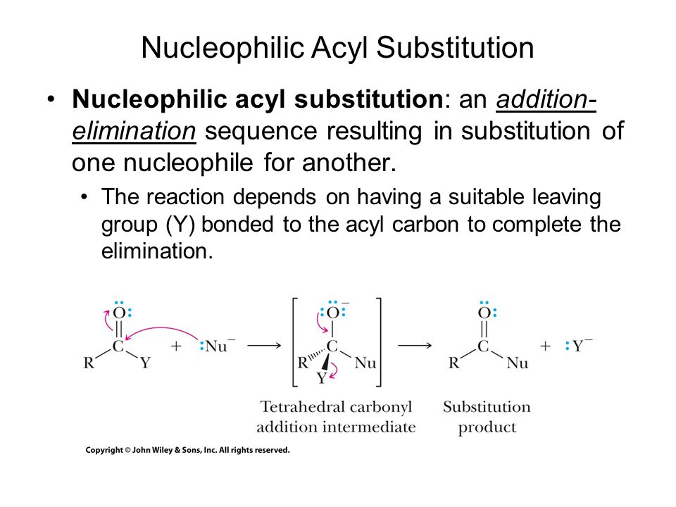 Nucleophilic acyl substitution: an addition- elimination sequence resulting in substitution of one nucleophile for another.