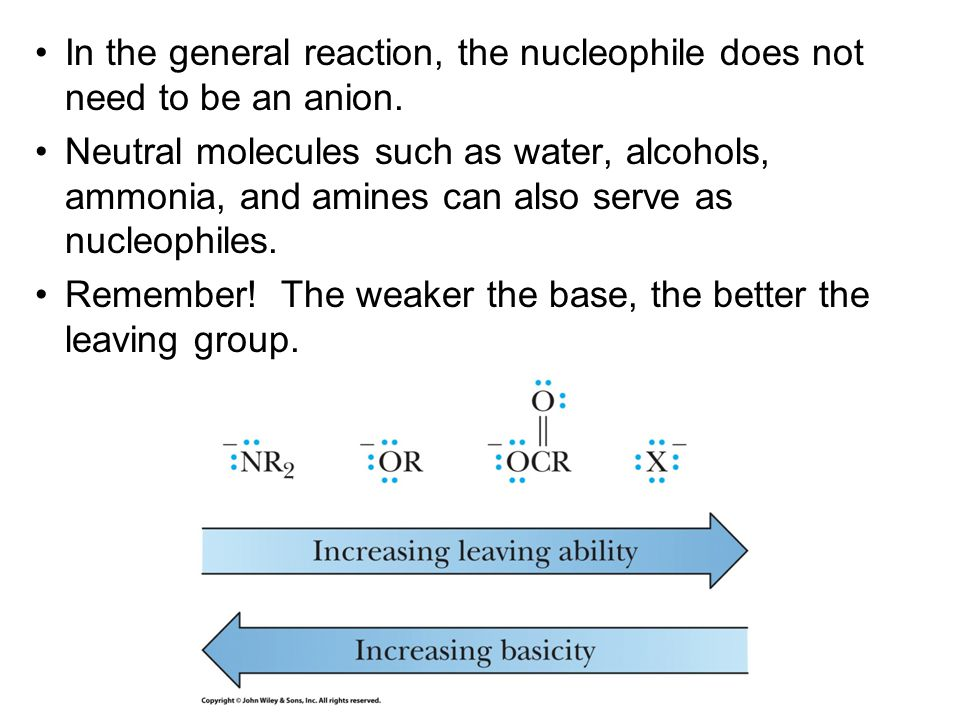 In the general reaction, the nucleophile does not need to be an anion.