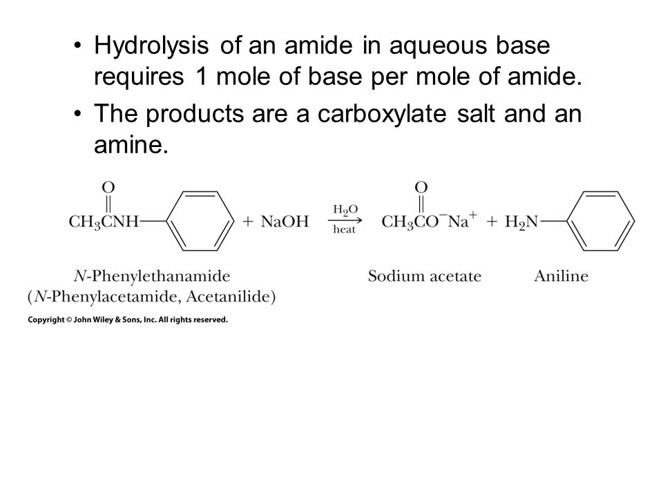 Hydrolysis of an amide in aqueous base requires 1 mole of base per mole of amide.