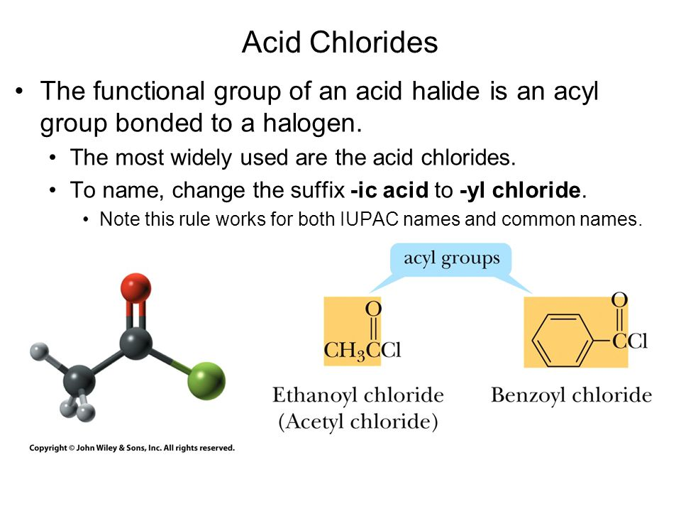 Acid Anhydrides The functional group of an acid anhydride is two acyl groups bonded to an oxygen atom.