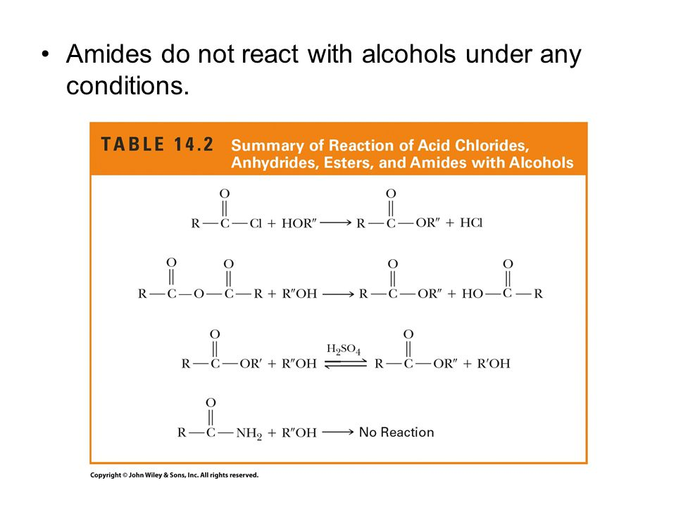 Amides do not react with alcohols under any conditions.