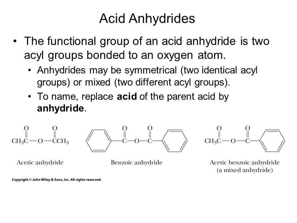 Acid anhydrides react with ammonia, 1° and 2° amines to form amides.