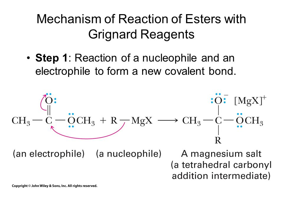 Mechanism of Reaction of Esters with Grignard Reagents Step 1: Reaction of a nucleophile and an electrophile to form a new covalent bond.