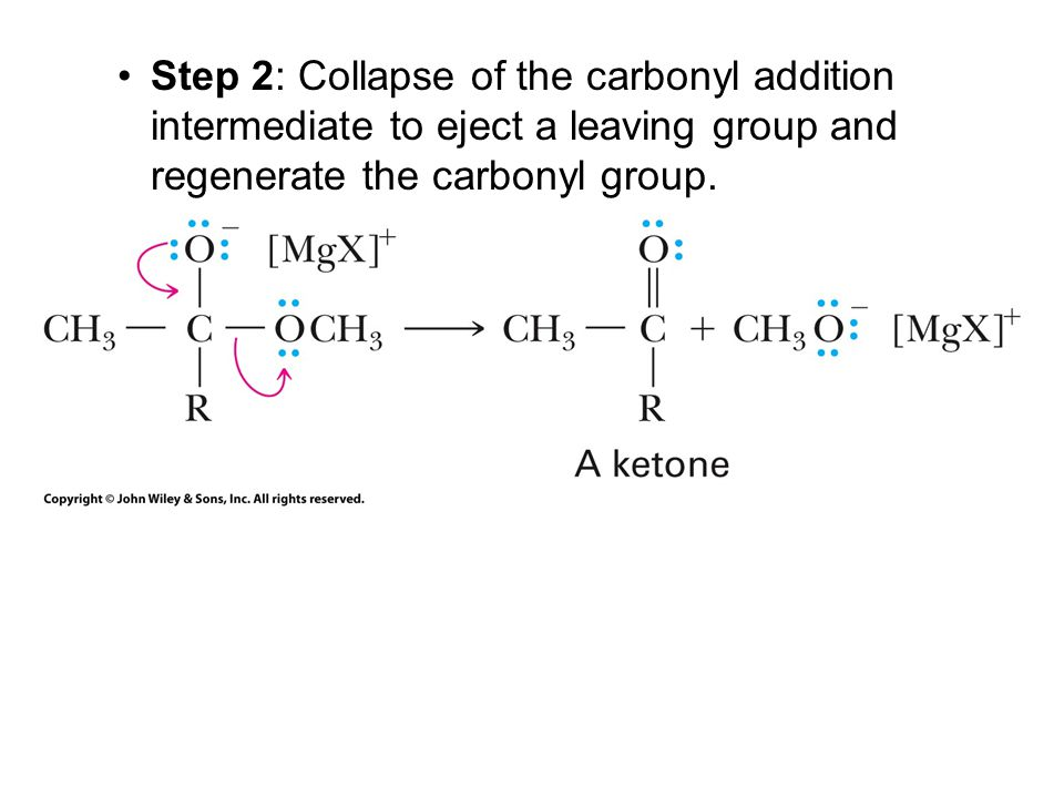 Step 2: Collapse of the carbonyl addition intermediate to eject a leaving group and regenerate the carbonyl group.