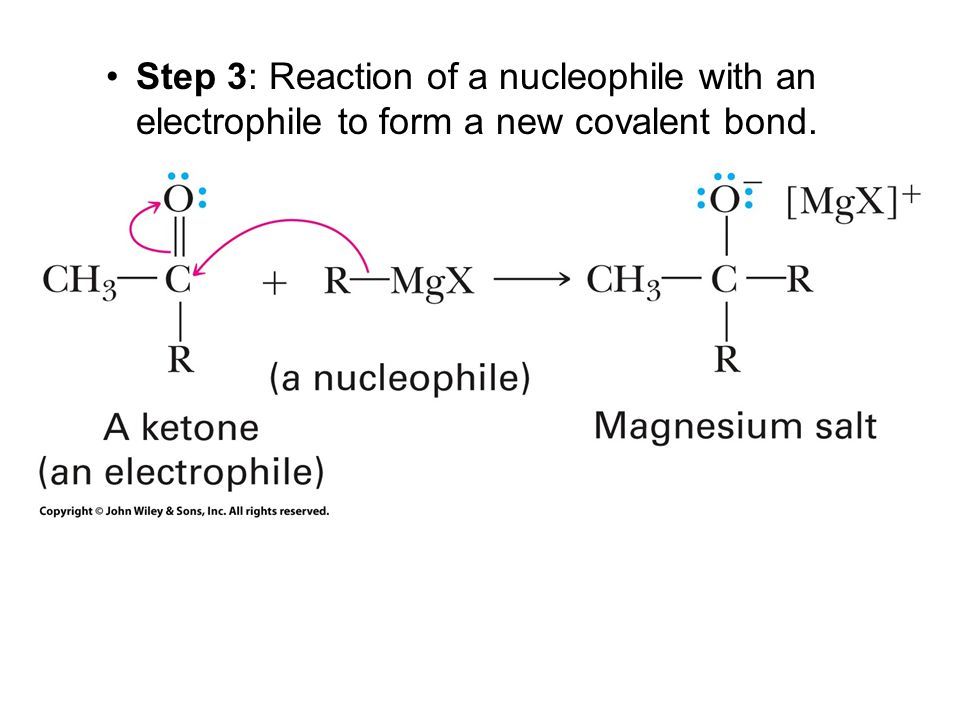Step 3: Reaction of a nucleophile with an electrophile to form a new covalent bond.