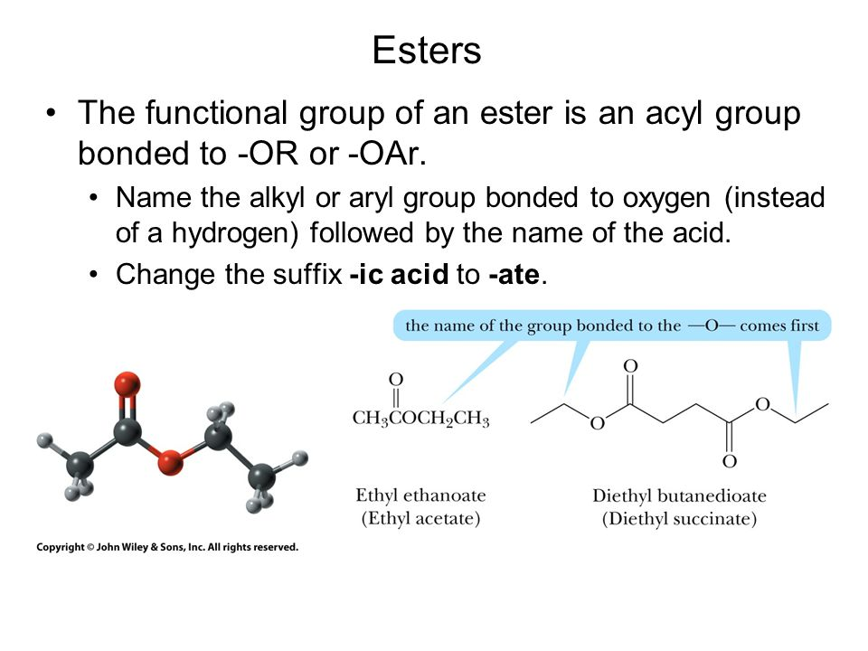 Esters react with ammonia, 1° and 2° amines to form amides.