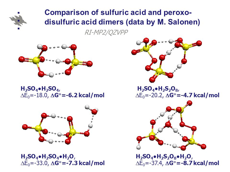 Comparison of sulfuric acid and peroxo- disulfuric acid dimers (data by M.
