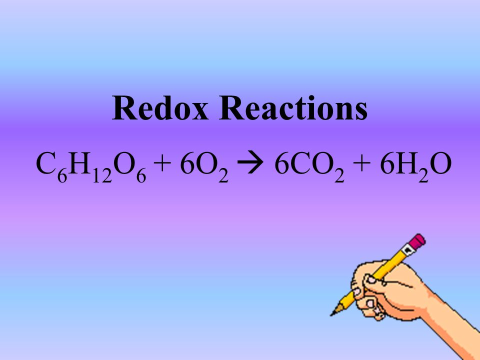 Redox Reactions C 6 H 12 O 6 + 6O 2  6CO 2 + 6H 2 O
