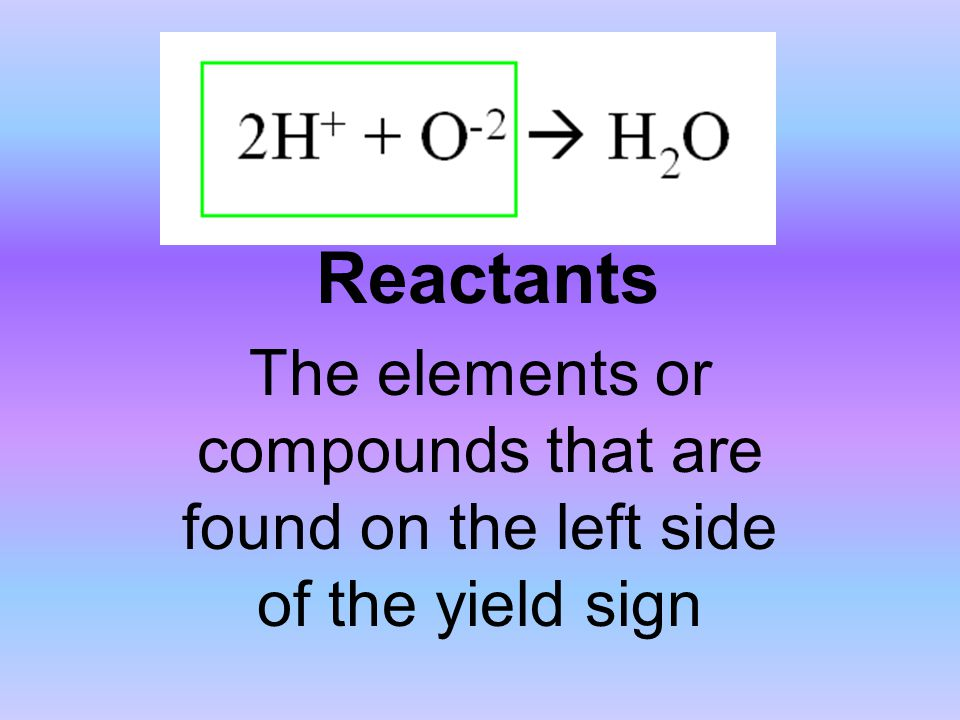 Reactants The elements or compounds that are found on the left side of the yield sign