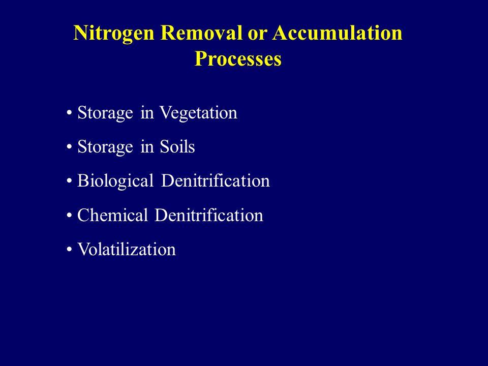 Nitrogen Removal or Accumulation Processes Storage in Vegetation Storage in Soils Biological Denitrification Chemical Denitrification Volatilization