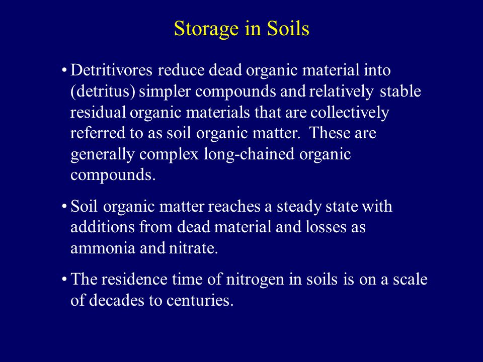 Detritivores reduce dead organic material into (detritus) simpler compounds and relatively stable residual organic materials that are collectively referred to as soil organic matter.