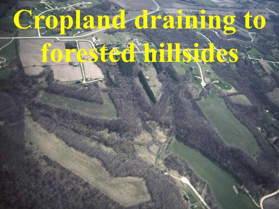 Cropland draining to forested hillsides
