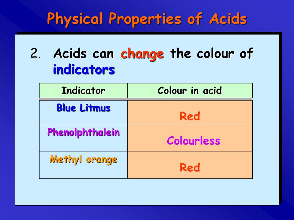 2. Acids can the colour of indicators Indicator Colour in acid Blue Litmus Phenolphthalein Methyl orange change Red Colourless Physical Properties of