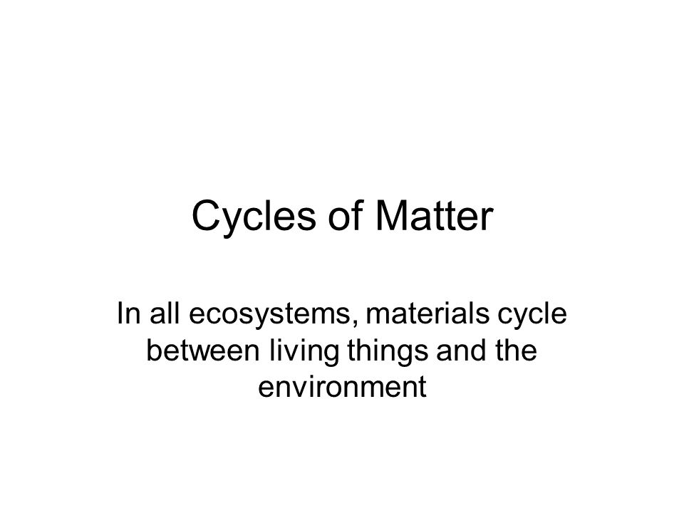 Cycling Materials Living things incorporate substances –by eating –during respiration and photosynthesis When they die, they are broken down by decomposers and the materials are returned to the environment Materials also return to environment through excreted wastes such as feces, and urine, and the gases given off during respiration and photosynthesis