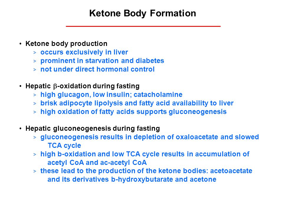 Ketone Body Formation Ketone body production > occurs exclusively in liver > prominent in starvation and diabetes > not under direct hormonal control