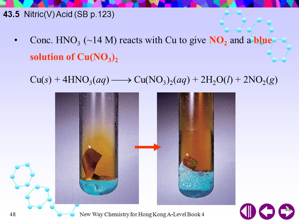 New Way Chemistry for Hong Kong A-Level Book 447 Cu reacts with warm dilute HNO 3 to give NO 3Cu(s) + 8HNO 3 (aq)  3Cu(NO 3 ) 2 (aq) + 4H 2 O(l) + 2