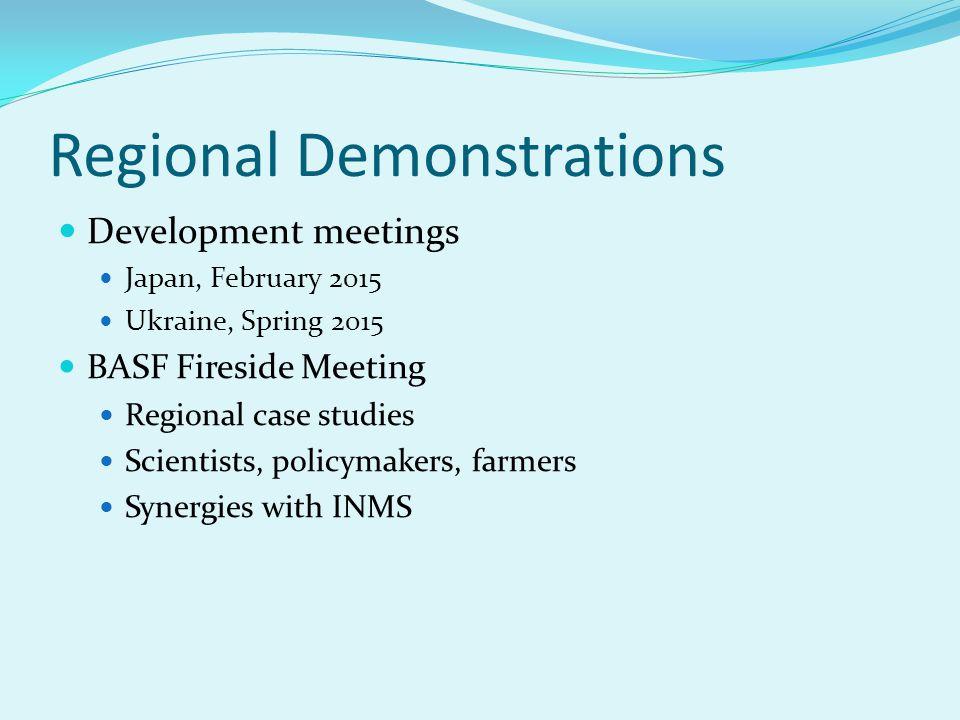 Regional Demonstrations Development meetings Japan, February 2015 Ukraine, Spring 2015 BASF Fireside Meeting Regional case studies Scientists, policymakers, farmers Synergies with INMS