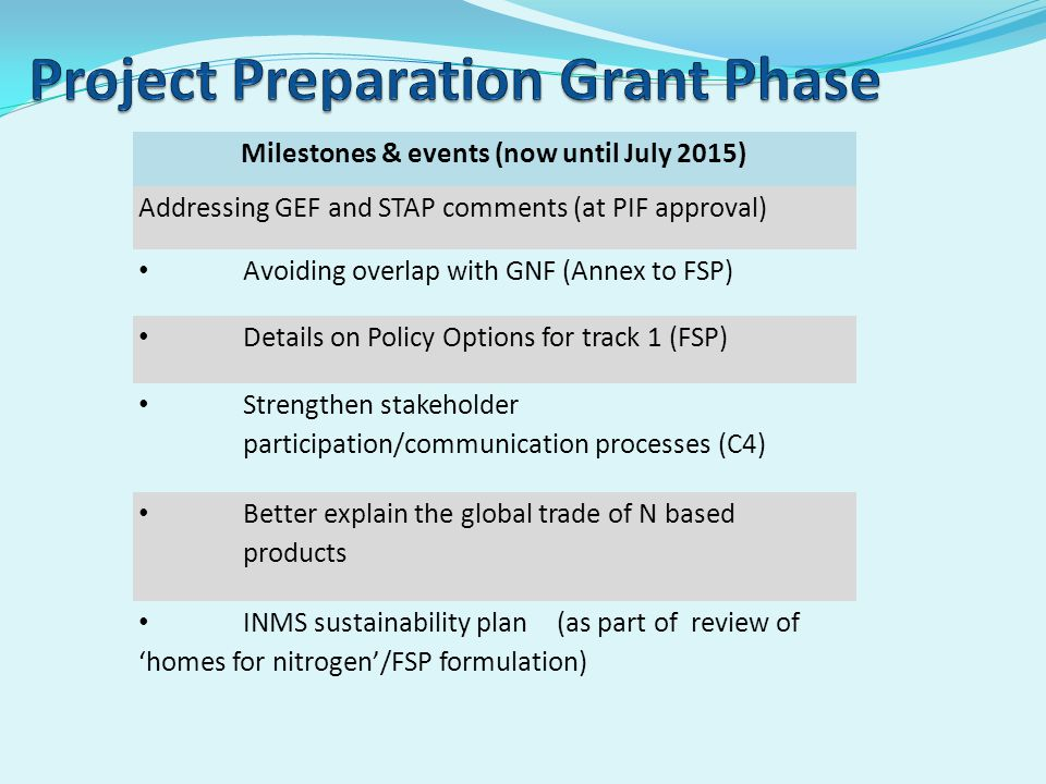Milestones & events (now until July 2015) Addressing GEF and STAP comments (at PIF approval) Avoiding overlap with GNF (Annex to FSP) Details on Policy Options for track 1 (FSP) Strengthen stakeholder participation/communication processes (C4) Better explain the global trade of N based products INMS sustainability plan (as part of review of 'homes for nitrogen'/FSP formulation)