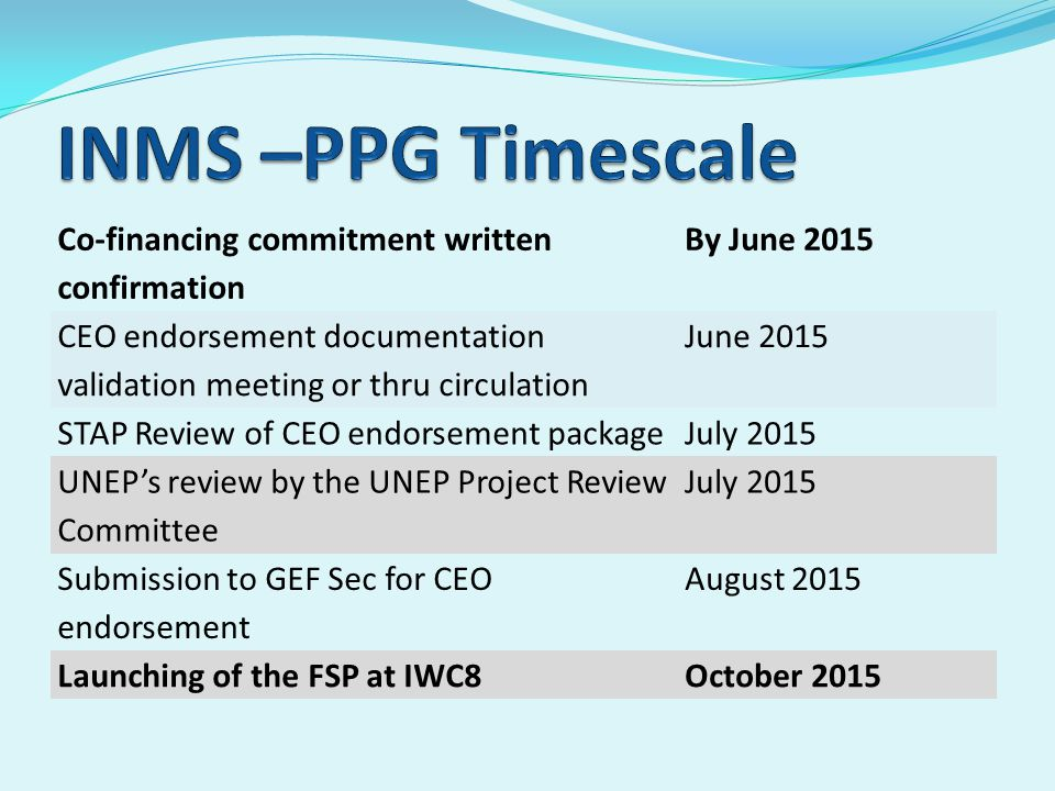 Co-financing commitment written confirmation By June 2015 CEO endorsement documentation validation meeting or thru circulation June 2015 STAP Review of CEO endorsement packageJuly 2015 UNEP's review by the UNEP Project Review Committee July 2015 Submission to GEF Sec for CEO endorsement August 2015 Launching of the FSP at IWC8October 2015