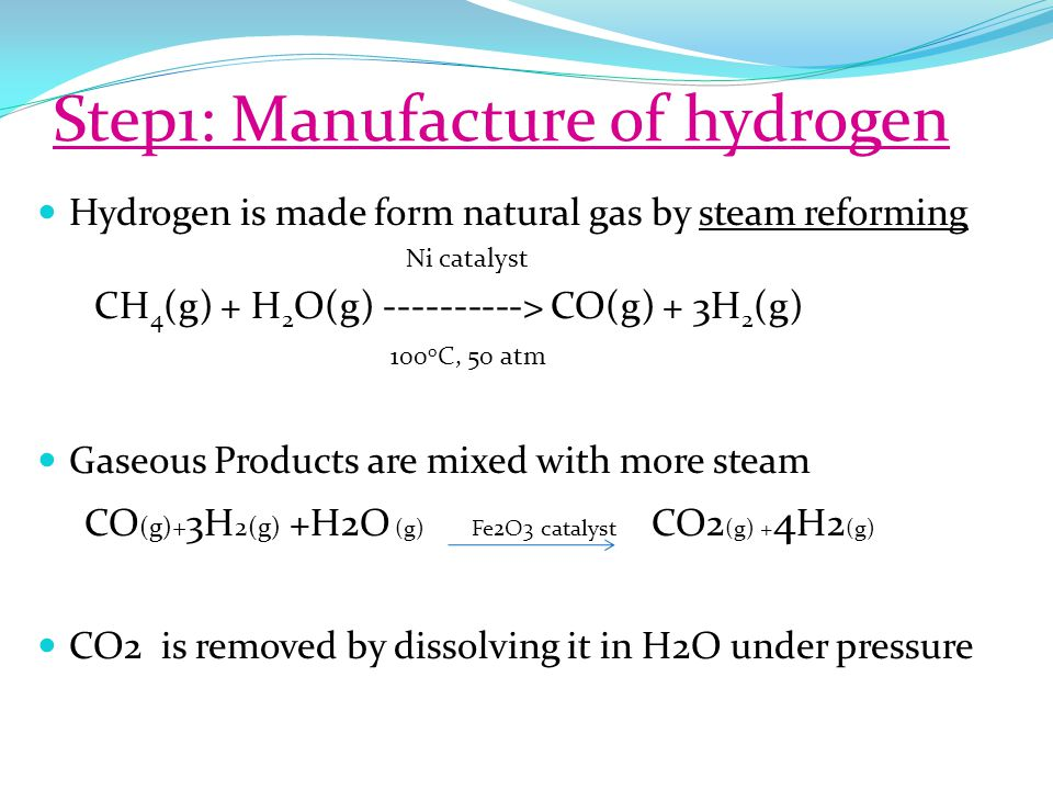 Step1: Manufacture of hydrogen Hydrogen is made form natural gas by steam reforming Ni catalyst CH 4 (g) + H 2 O(g) ----------> CO(g) + 3H 2 (g) 100 o C, 50 atm Gaseous Products are mixed with more steam CO (g)+ 3H 2(g) +H2O (g) Fe2O3 catalyst CO2 (g) + 4 H2 (g) CO2 is removed by dissolving it in H2O under pressure