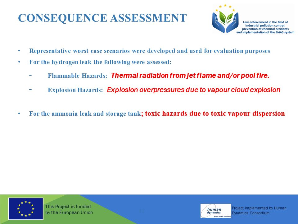 This Project is funded by the European Union Project implemented by Human Dynamics Consortium 12 CONSEQUENCE ASSESSMENT Representative worst case scenarios were developed and used for evaluation purposes For the hydrogen leak the following were assessed: - Flammable Hazards: Thermal radiation from jet flame and/or pool fire.