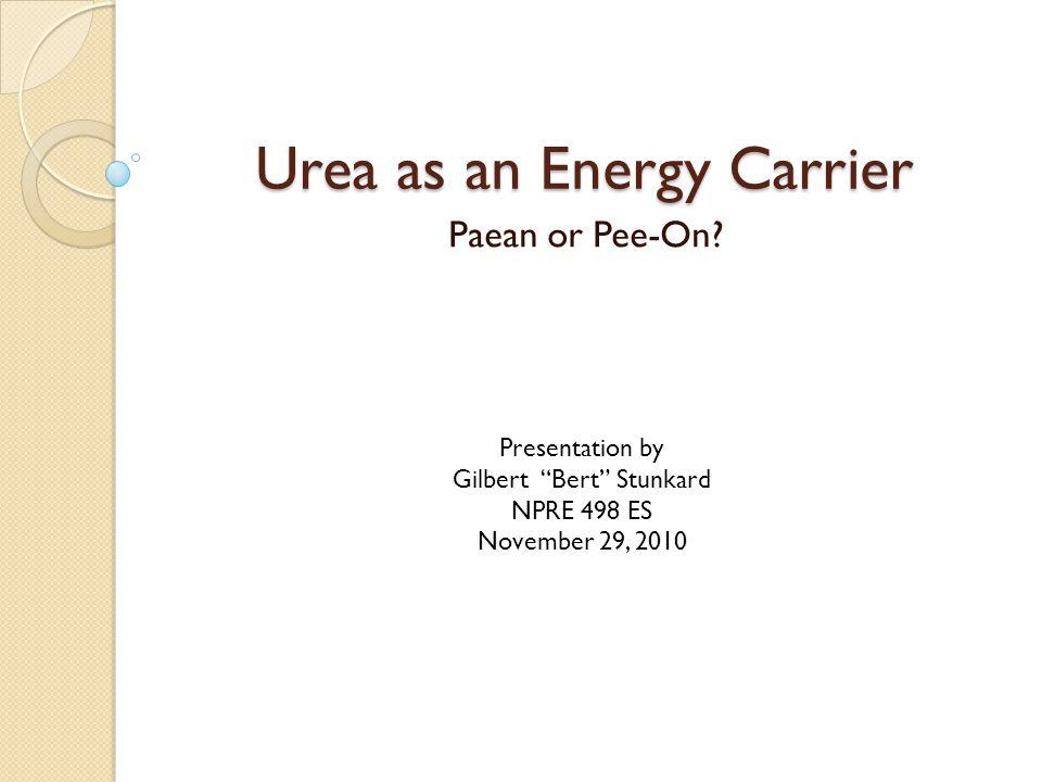 Urea as an Energy Carrier Paean or Pee-On.