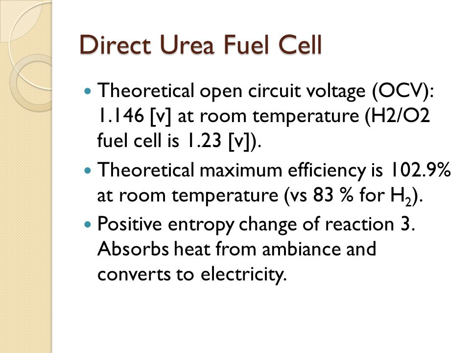 Theoretical open circuit voltage (OCV): 1.146 [v] at room temperature (H2/O2 fuel cell is 1.23 [v]). Theoretical maximum efficiency is 102.9% at room