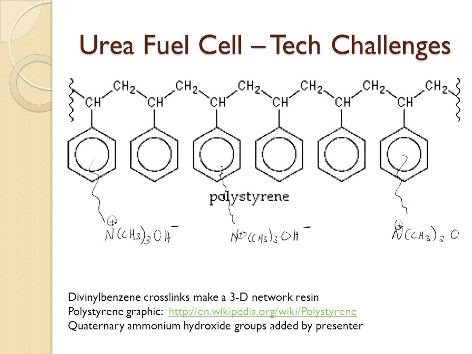 Urea Fuel Cell – Tech Challenges Divinylbenzene crosslinks make a 3-D network resin Polystyrene graphic: http://en.wikipedia.org/wiki/Polystyrenehttp://en.wikipedia.org/wiki/Polystyrene Quaternary ammonium hydroxide groups added by presenter