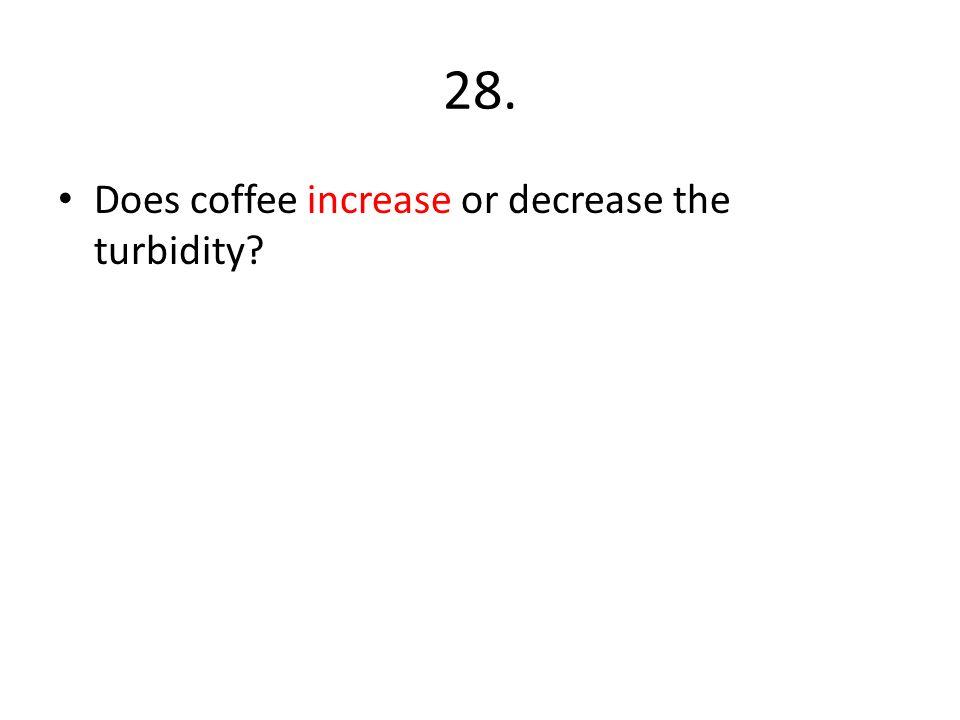 28. Does coffee increase or decrease the turbidity?