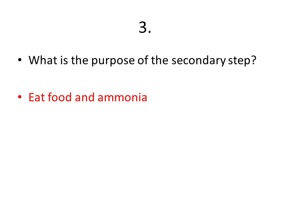 3. What is the purpose of the secondary step? Eat food and ammonia