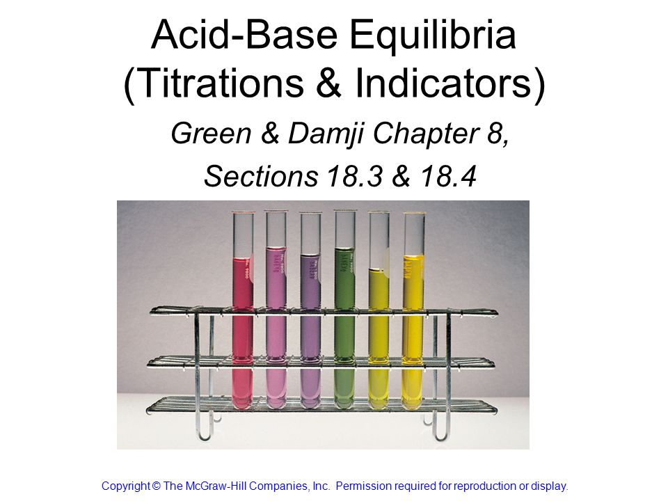 Acid-Base Equilibria (Titrations & Indicators) Green & Damji Chapter 8, Sections 18.3 & 18.4 Chang Chapter 16 Copyright © The McGraw-Hill Companies, Inc.