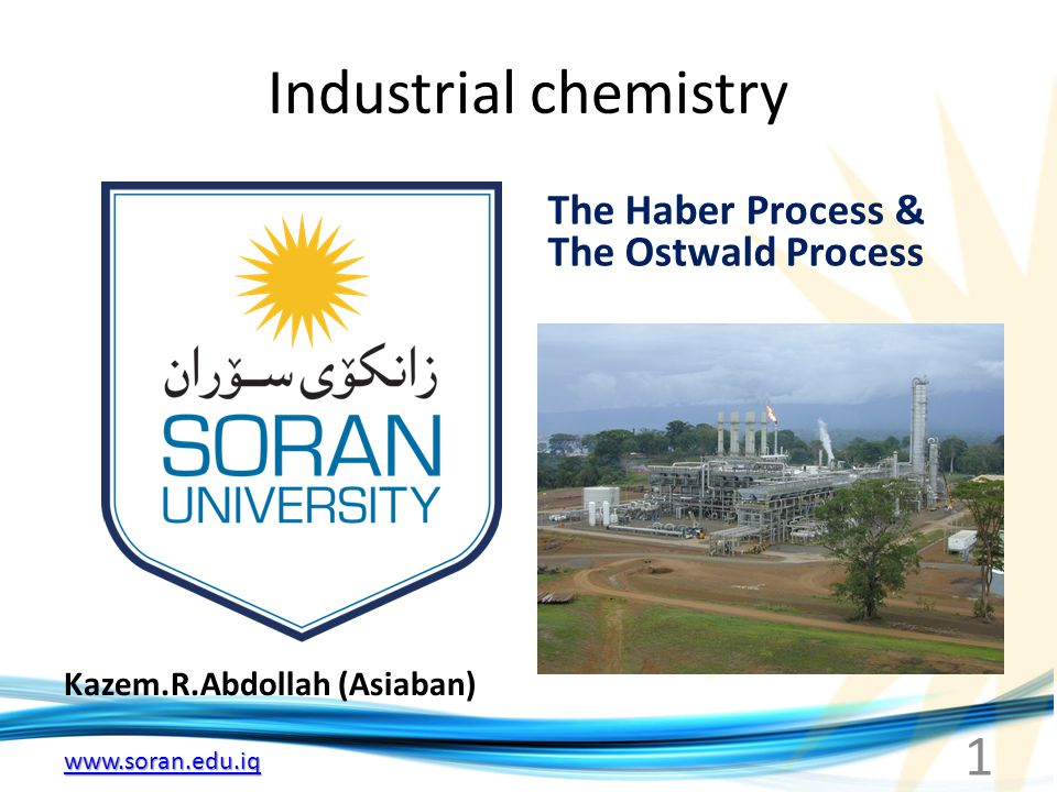 www.soran.edu.iq Industrial chemistry Kazem.R.Abdollah (Asiaban) The Haber Process & The Ostwald Process 1