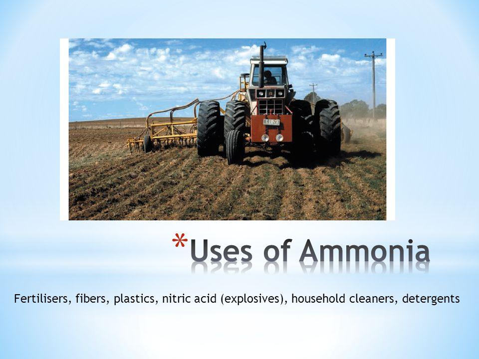 Fertilisers, fibers, plastics, nitric acid (explosives), household cleaners, detergents