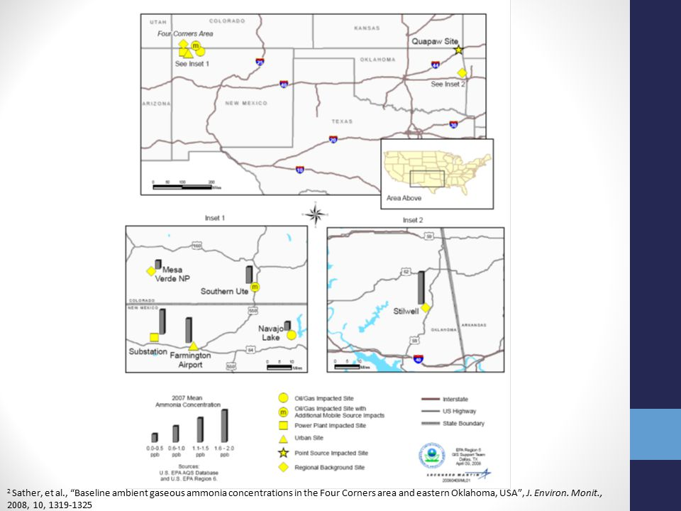 Methods Ambient gaseous NH 3 was sampled at the Southern Ute Indian Tribe's Bondad, CO air monitoring site 3-week sampling periods from December 2006 through December 2007 The Bondad site is surrounded by agricultural activities and oil and gas development