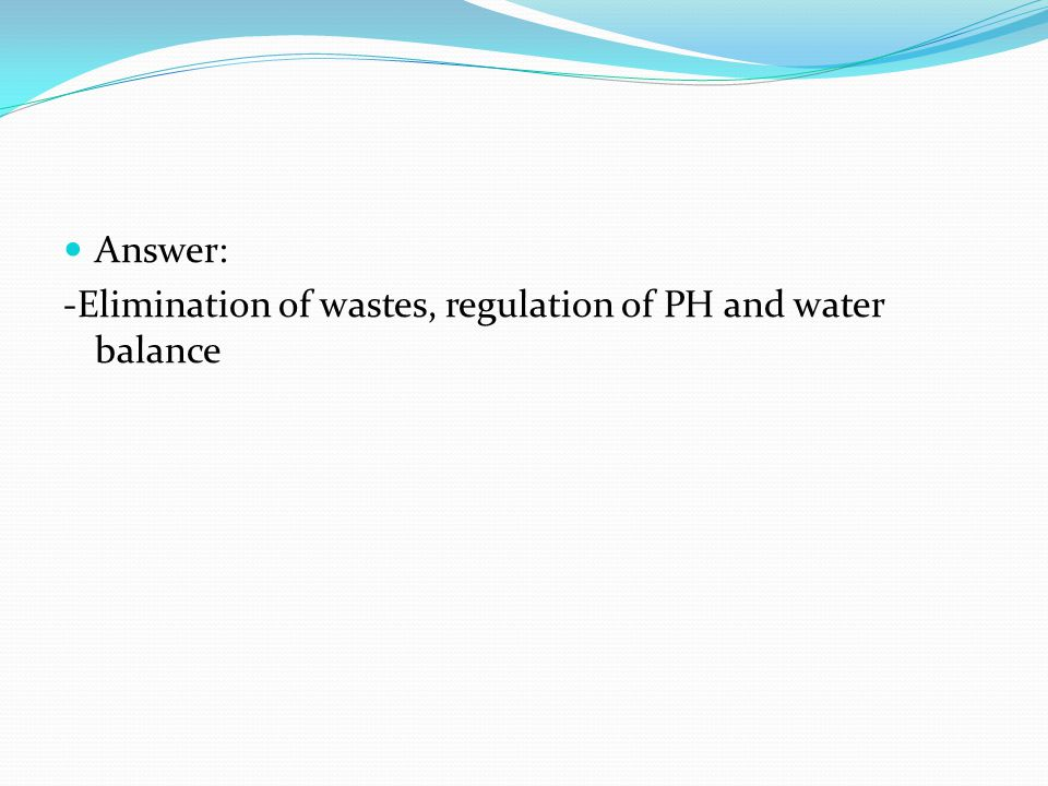 Answer: -Elimination of wastes, regulation of PH and water balance