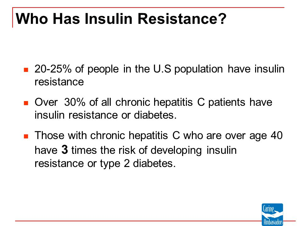 Who Has Insulin Resistance? 20-25% of people in the U.S population have insulin resistance Over 30% of all chronic hepatitis C patients have insulin r