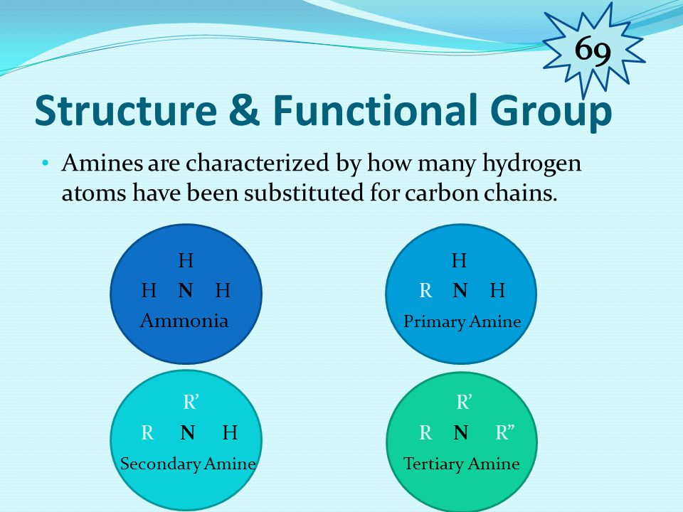 Organic FamilyAmine Type of ReactionSubstitution(Rx with alkyl halides) (  1°, 2°, 3°) Reactant 1 (Organic Family) Ammonia Reactant 2 (Organic Family) Alkyl Halide (Structure, names, special conditions) Alkyl Halide reacting with a halogen to produce a primary amine CH3CH2-I + H-N-H  CH3CH2-N-H + HI | | H H Ethyl Iodide Ammonia Ethylamine (1° amine ) Special ConditionsNo special condition is required as a Halogen is present