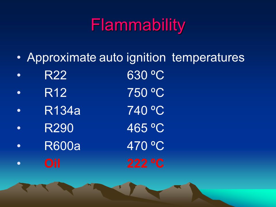 Flammability Approximate auto ignition temperatures R22630 ºC R12750 ºC R134a740 ºC R290465 ºC R600a470 ºC Oil222 ºC