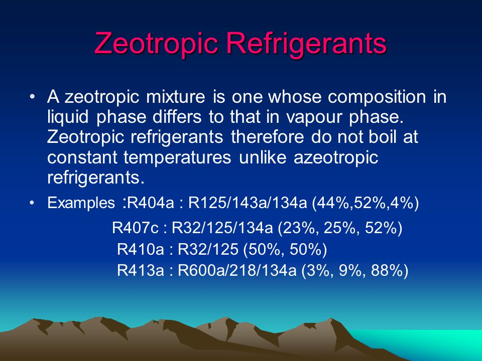 Zeotropic Refrigerants A zeotropic mixture is one whose composition in liquid phase differs to that in vapour phase.