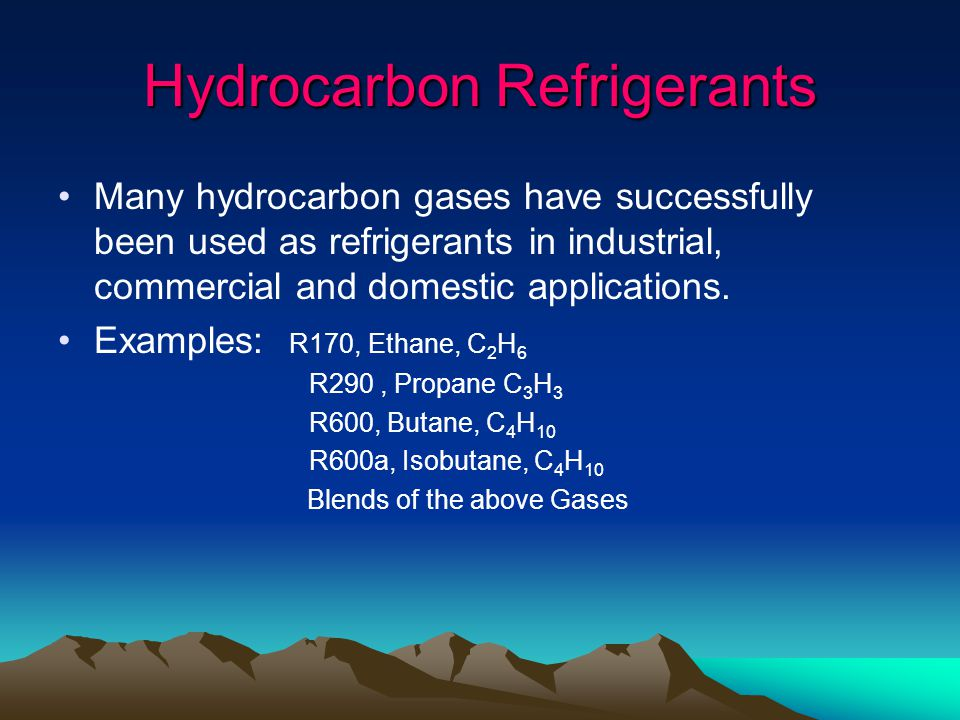 Hydrocarbon Refrigerants Many hydrocarbon gases have successfully been used as refrigerants in industrial, commercial and domestic applications.