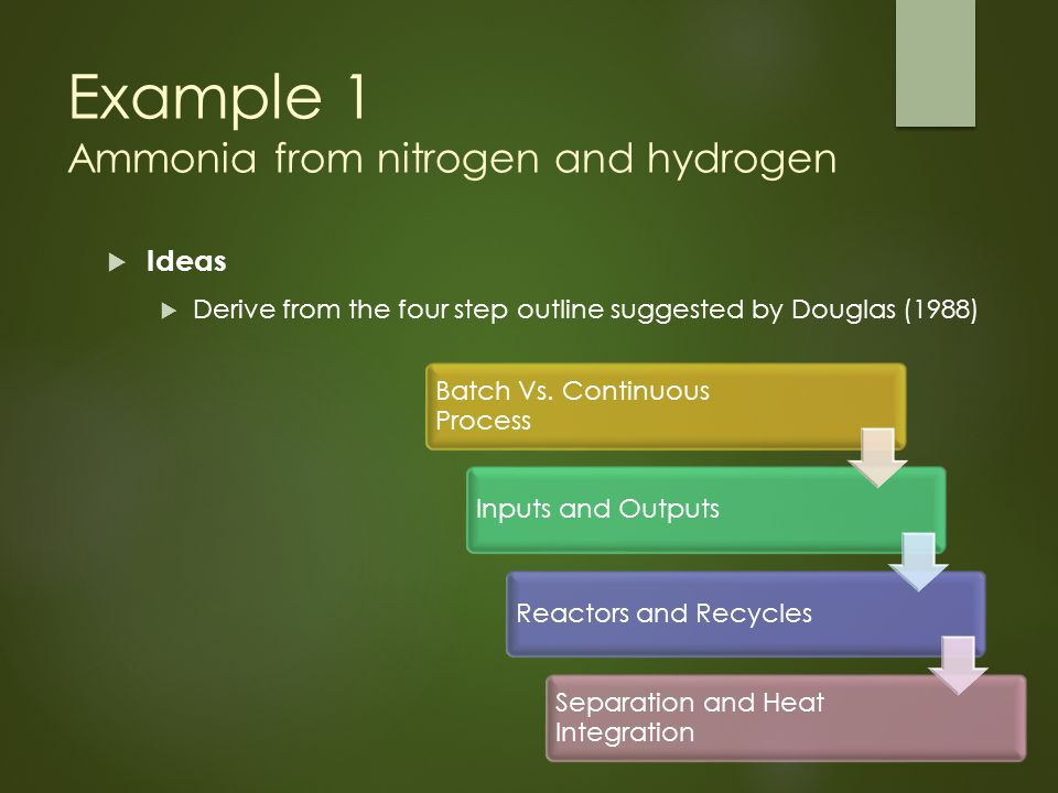 Example 1 Ammonia from nitrogen and hydrogen  Ideas  Derive from the four step outline suggested by Douglas (1988) Batch Vs.
