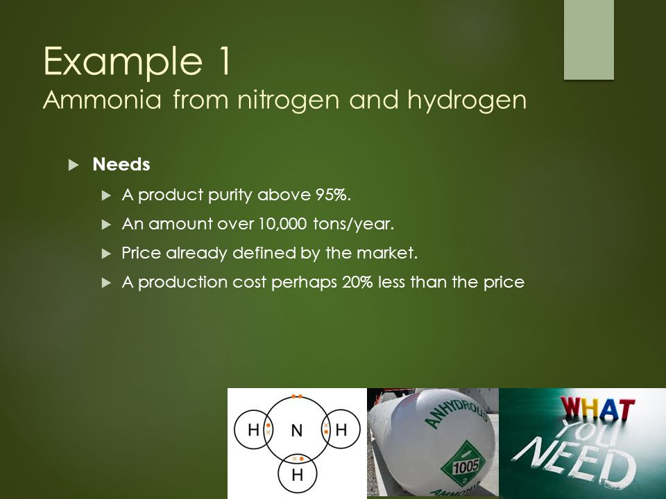 Example 1 Ammonia from nitrogen and hydrogen  Needs  A product purity above 95%.