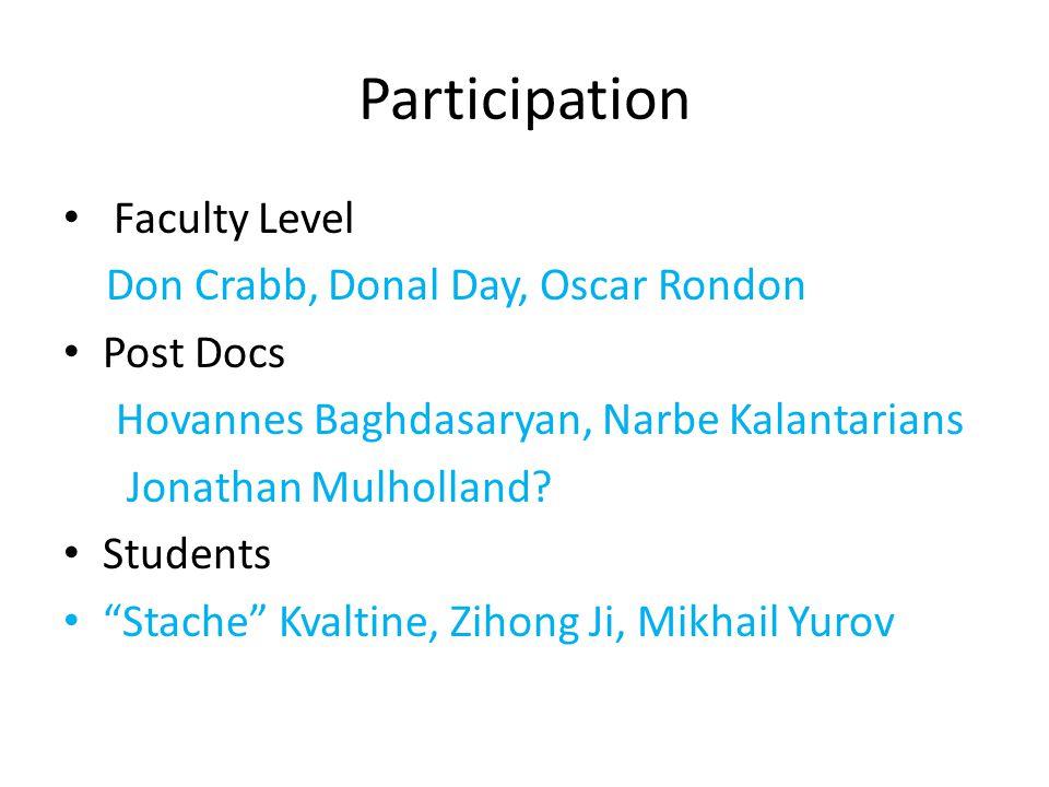 Participation Faculty Level Don Crabb, Donal Day, Oscar Rondon Post Docs Hovannes Baghdasaryan, Narbe Kalantarians Jonathan Mulholland.