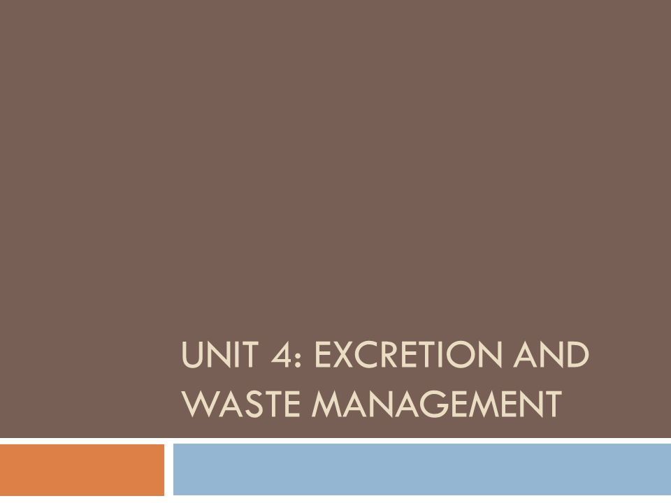 UNIT 4: EXCRETION AND WASTE MANAGEMENT