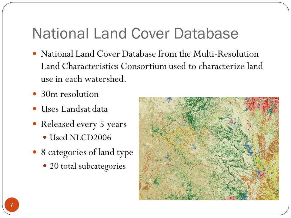 National Land Cover Database National Land Cover Database from the Multi-Resolution Land Characteristics Consortium used to characterize land use in e
