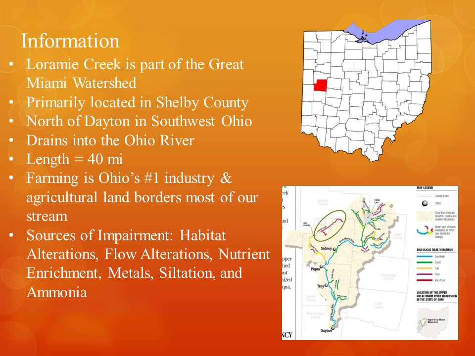 Information Loramie Creek is part of the Great Miami Watershed Primarily located in Shelby County North of Dayton in Southwest Ohio Drains into the Ohio River Length = 40 mi Farming is Ohio's #1 industry & agricultural land borders most of our stream Sources of Impairment: Habitat Alterations, Flow Alterations, Nutrient Enrichment, Metals, Siltation, and Ammonia