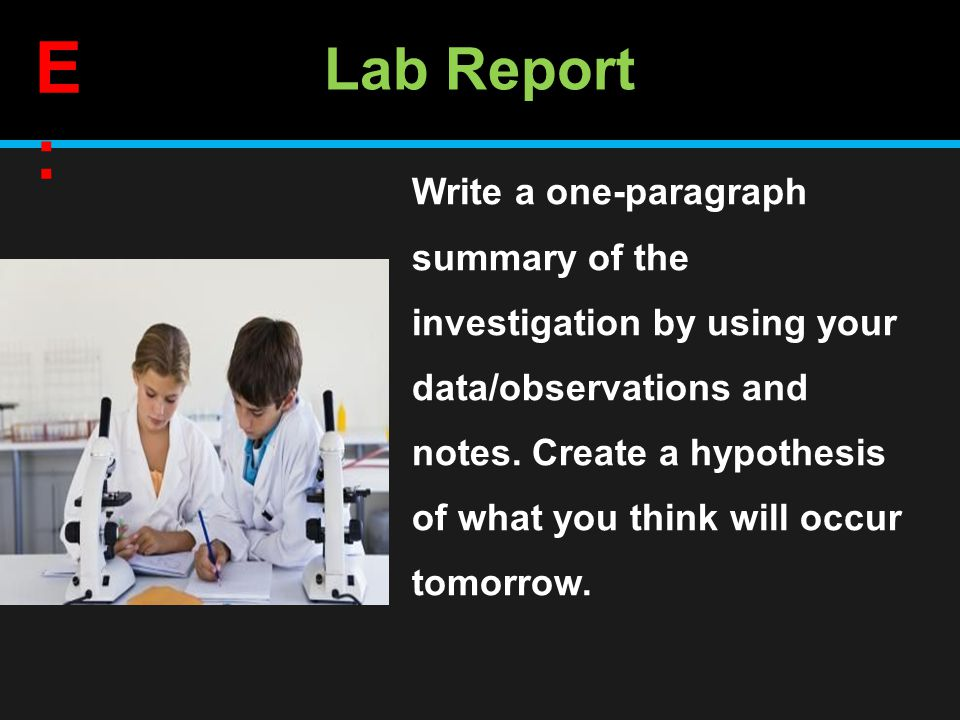 Lab Report Write a one-paragraph summary of the investigation by using your data/observations and notes.
