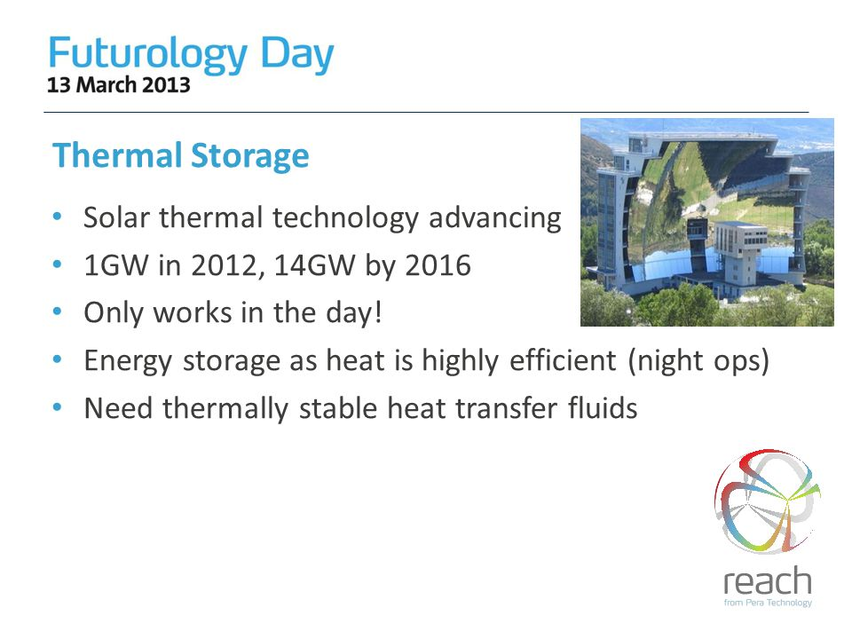 Thermal Storage Solar thermal technology advancing 1GW in 2012, 14GW by 2016 Only works in the day.