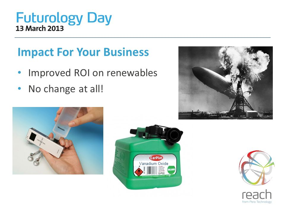 Impact For Your Business Improved ROI on renewables No change at all! Vanadium Oxide