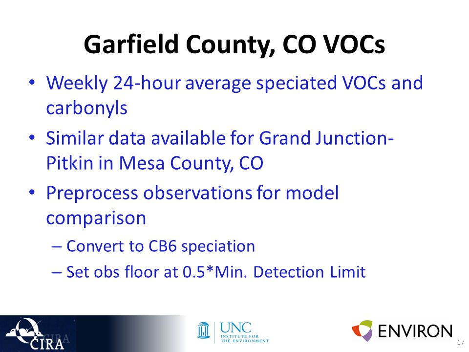 17 Garfield County, CO VOCs Weekly 24-hour average speciated VOCs and carbonyls Similar data available for Grand Junction- Pitkin in Mesa County, CO Preprocess observations for model comparison – Convert to CB6 speciation – Set obs floor at 0.5*Min.